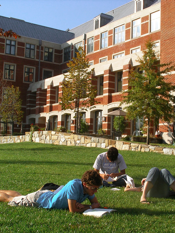Georgetown University students studying